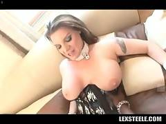 Nasty white lady loves to feel huge black cock inside her cunt.