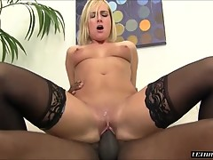 Blonde Office Lady Loves A Big Black Cock Inside Her