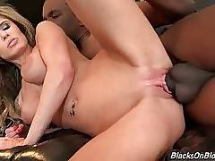 Horny black studs give no mercy to slutty white hottie.