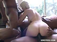 Babe Gets Mouth And Ass Filled With Black Dicks 2
