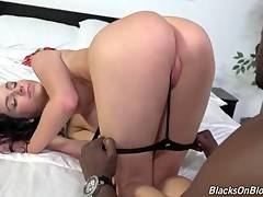 Tough Black Guy Attacks Sexy Brunette 1