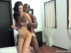 Turned on black dude deeply penetrates sexy white chick.