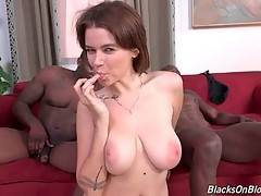 Marina Visconti gets her face all covered in black men cum.