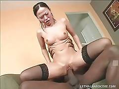 Asian cutie gets her pussy ruthlessly screwed by black man.
