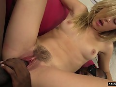 Slender blonde teen with a petite frame has a passion for big black dicks. She starts to suck her mans dick which barely fits in her tiny teen mouth. She gets naked and spreads her legs and her man gets right to work going balls deep in that cute teen sna