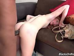 Madelyn Rose gets her asshole stretched with massive black dick.