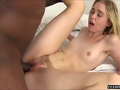 She finishes him up by riding reverse cowgirl, giving us a great view of her landing strip and pussy. He then blows his massive load into her mouth
